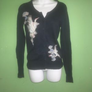 Lucky Brand embroidered cardigan sweater sz S A4
